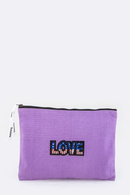 LOVE US Color Sequins Canvas Pouch - orangeshine.com