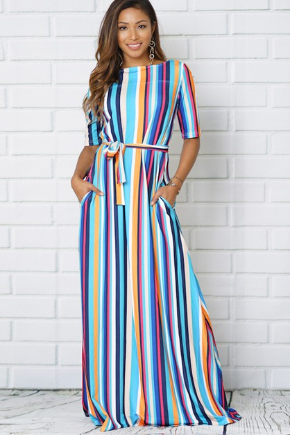 MULTI STRIPED MAXI DRESS - orangeshine.com