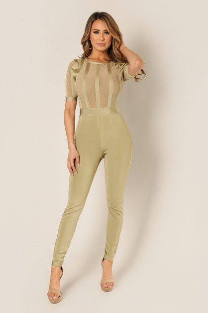 Mesh Sleeve Bandage Panel Jumpsuit - orangeshine.com