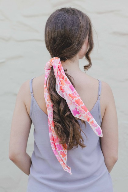 Orange Floral Clover Hair Scarf - orangeshine.com