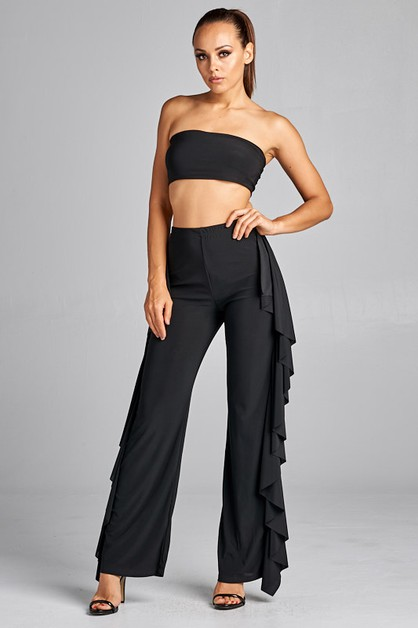 Solid tube top with ruffled pants se - orangeshine.com