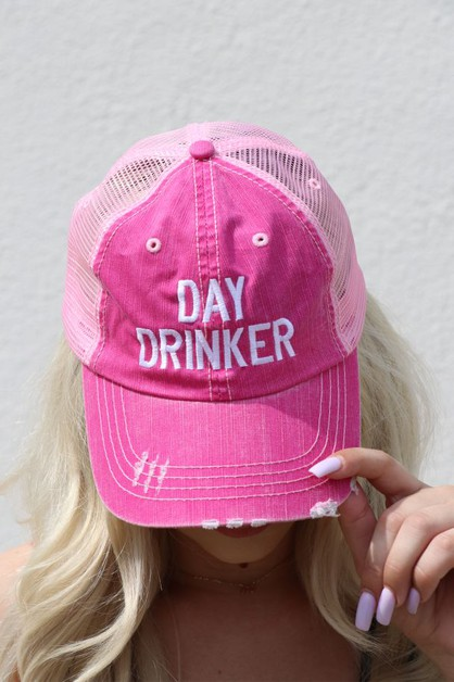 Day Drinker Pink Trucker Hat - orangeshine.com