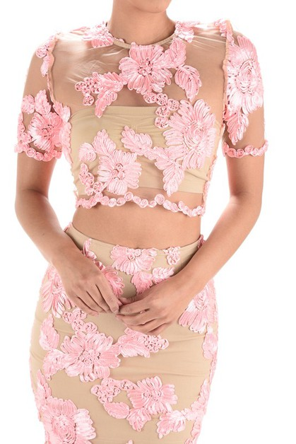 Floral Applique Sheer Tulle Crop Top - orangeshine.com