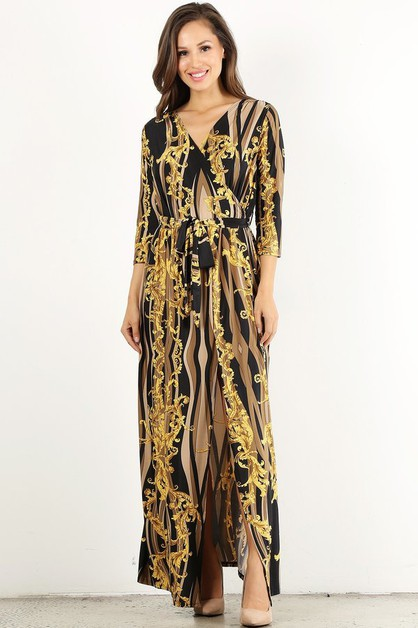 Printed maxi dress in a loose fit - orangeshine.com