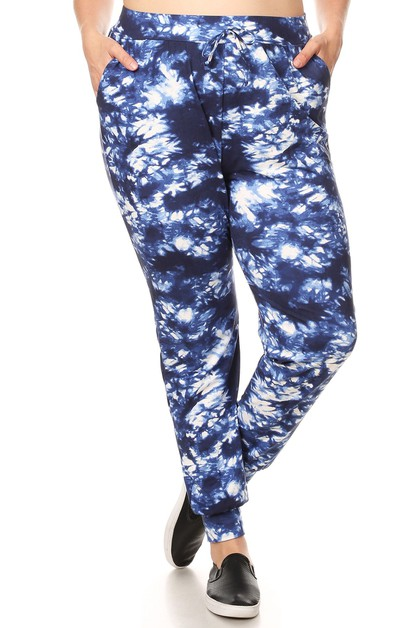 Plus Size Tie Dye Joggers Sweatpants - orangeshine.com