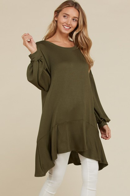 French Terry Puff Sleeve Tunic Top - orangeshine.com