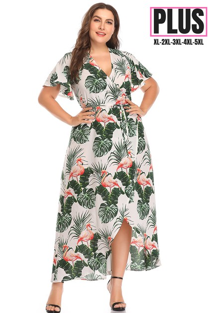 Leaf Print Plus Size Maxi Dress  - orangeshine.com