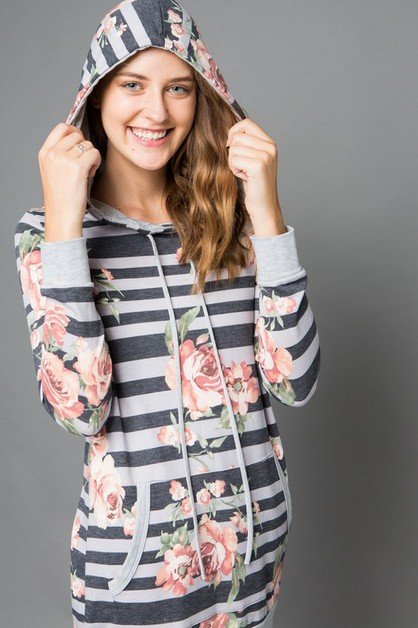 Floral and Striped Hoodie - orangeshine.com