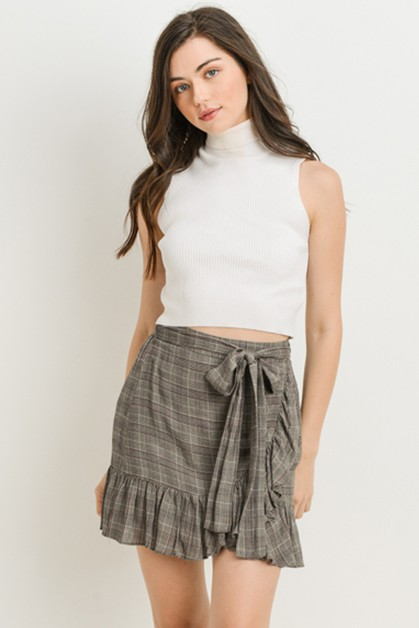 Plaid Ruffle Skirt - orangeshine.com