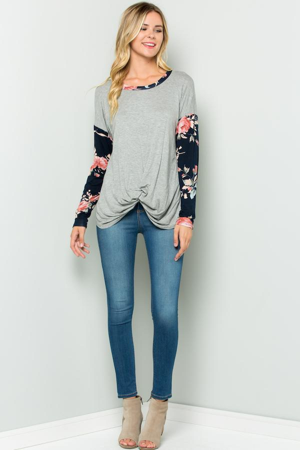 Solid Body Floral Sleeves Top - orangeshine.com