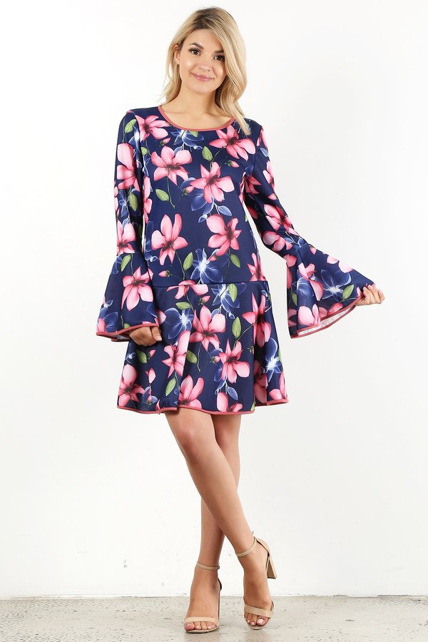 Floral printed short dress - orangeshine.com