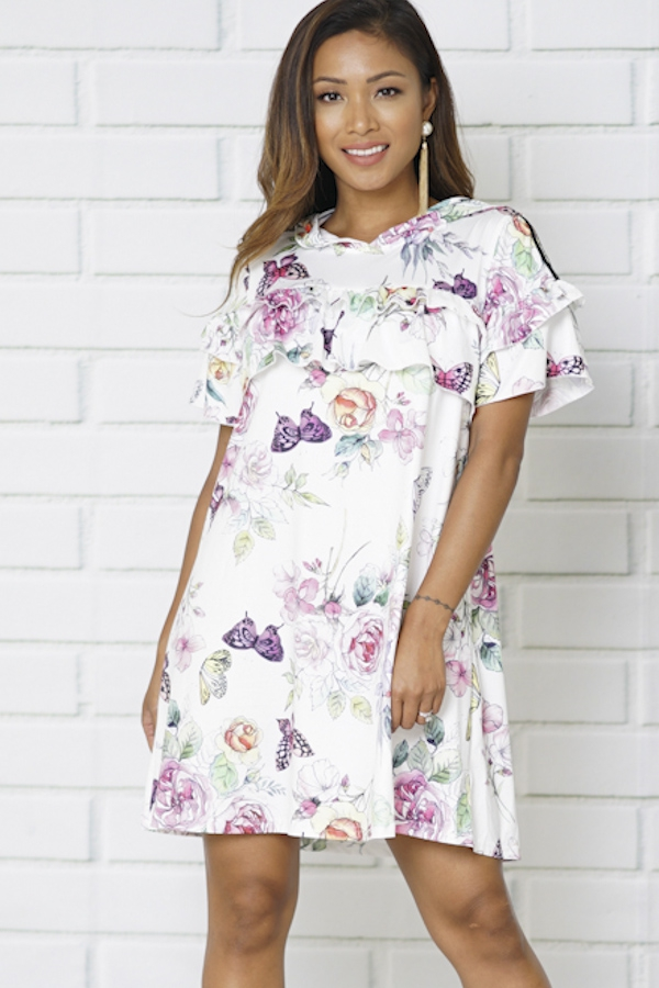 SHORT SLEEVE FLORAL PRINT DRESS - orangeshine.com