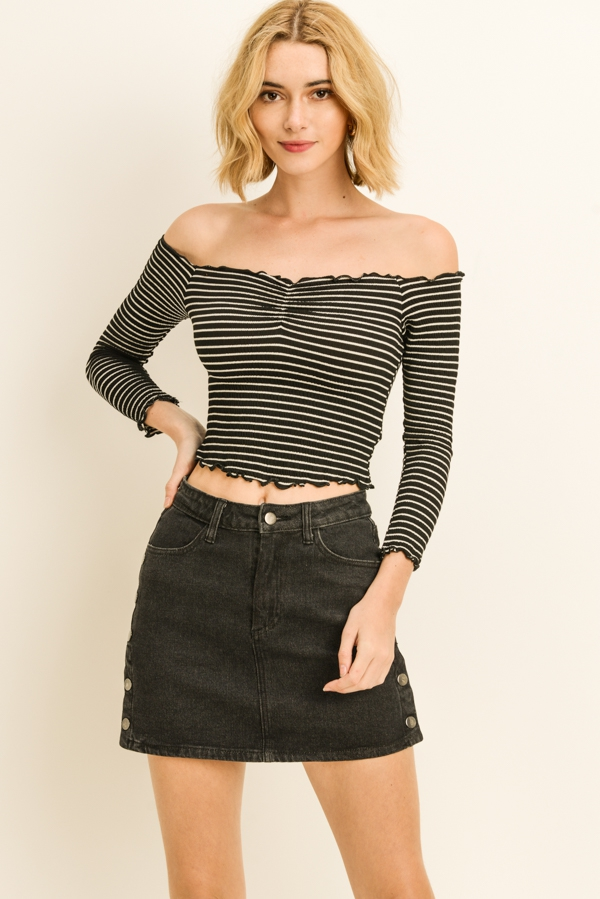 Striped Cropped Off Shoulder Top - orangeshine.com