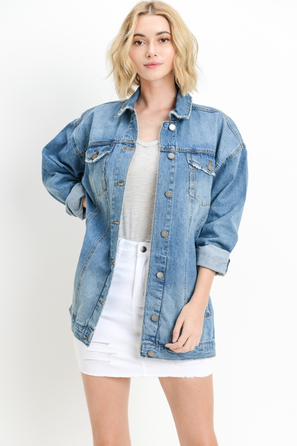 Oversized Long Denim Jacket - orangeshine.com