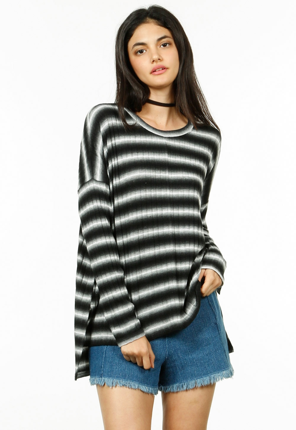 OMBRE 9X4 RIB STRIPE LONG SLV TOP - orangeshine.com