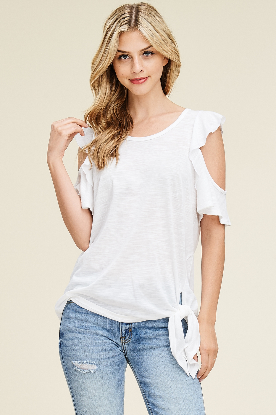 Ruffle Sleeves Cold Shoulder Top - orangeshine.com