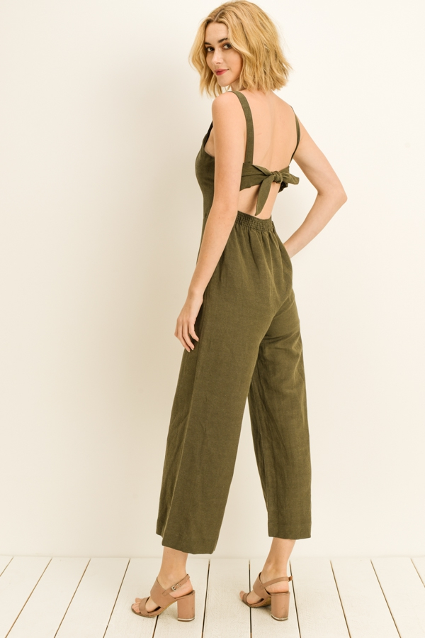 Knot Detail Open Back Jumpsuit - orangeshine.com