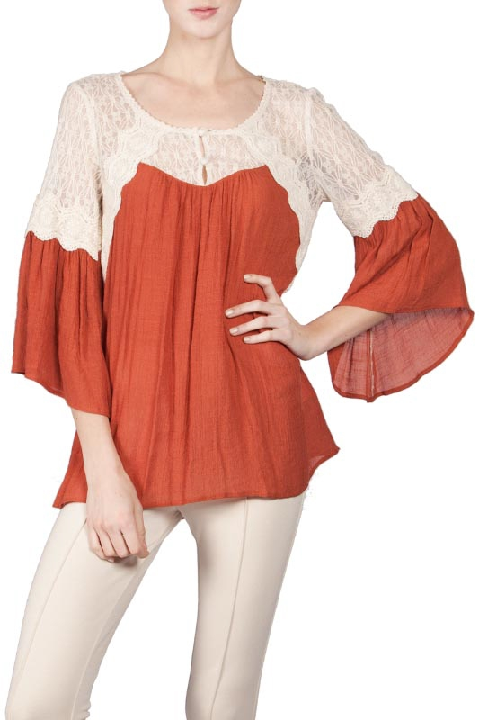ATA5330 SHEER LACED SHOULDER PEASANT - orangeshine.com