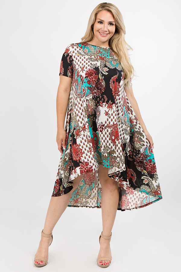 Plus Size Paisley High Low Tee Dress - orangeshine.com