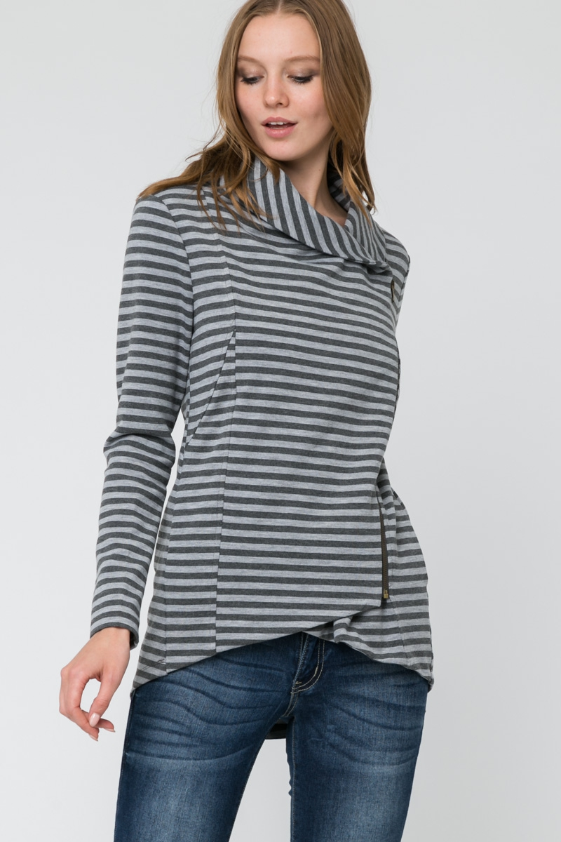 STRIPE SIDE ZIP WRAP JACKET - orangeshine.com