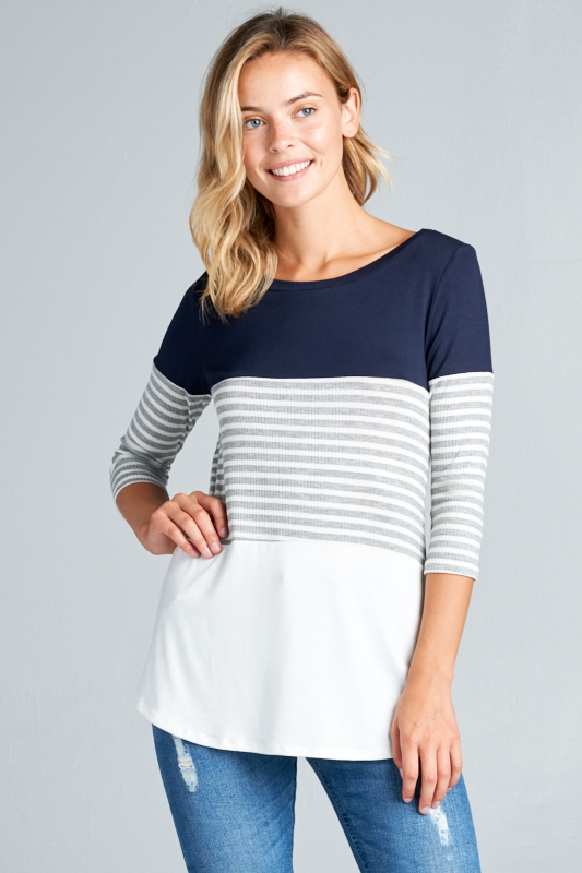 4X2 RIB STRIPE SOLID COLOR BLOCK TOP - orangeshine.com