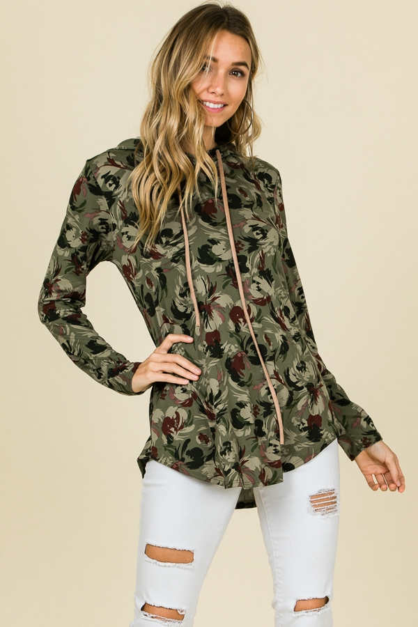 FLORAL OLIVE PRINT LONG SLEEVE TOP - orangeshine.com