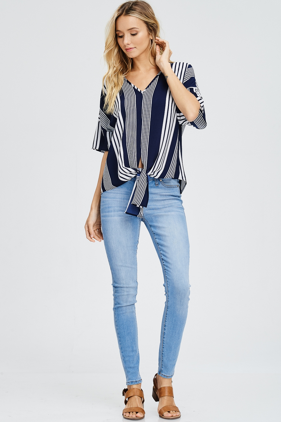Self Tie Knot Striped Woven Top - orangeshine.com