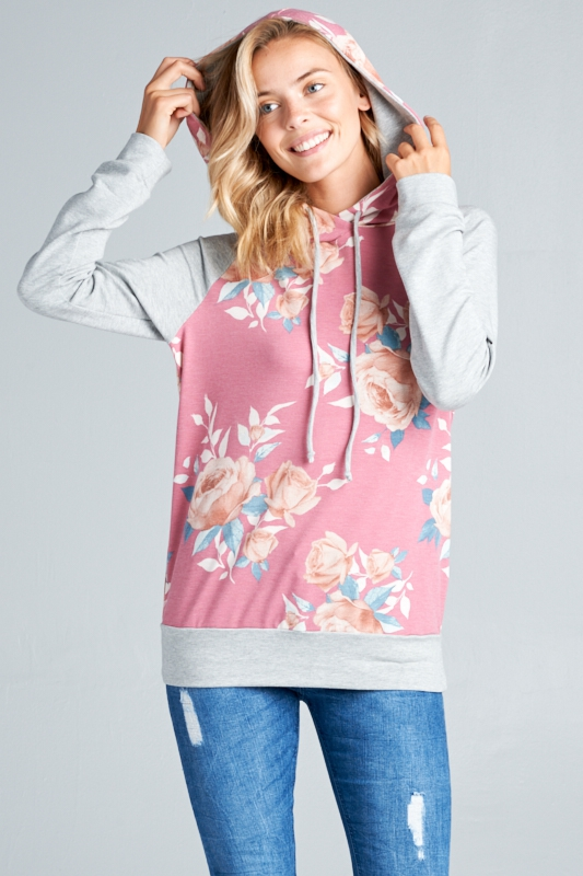 FLORAL AND SOLID FRENCH TERRY HOODIE - orangeshine.com