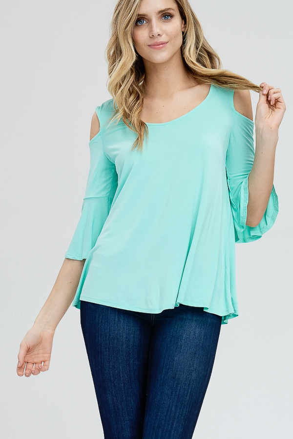 OPEN SHOULDER BELL SLEEVE TOP - orangeshine.com