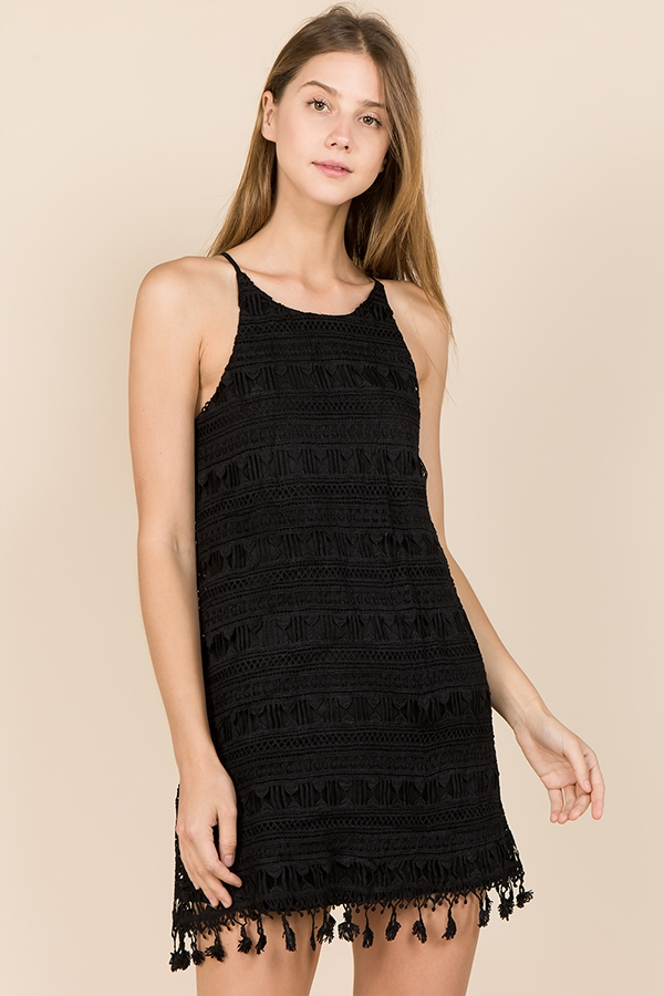 SOLID CROCHET LACE CAMI SHIFT DRESS - orangeshine.com