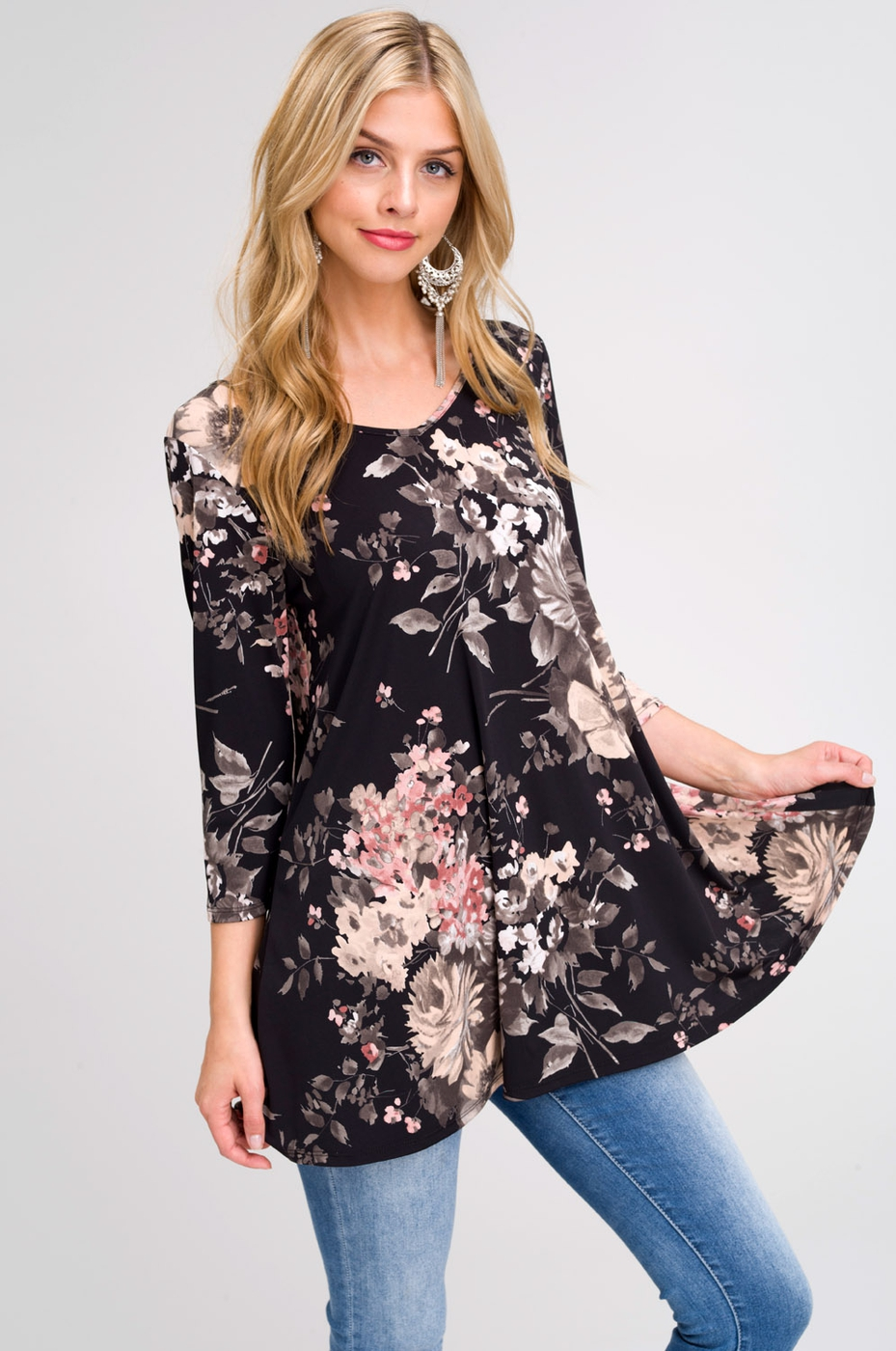 Floral Tunic Top With Back Keyhole - orangeshine.com