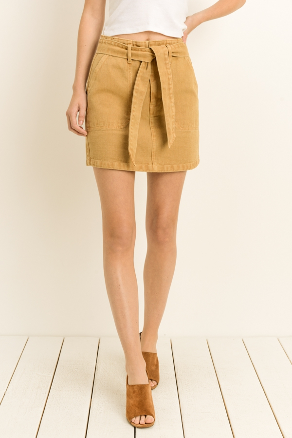 Washed Denim Belted Skirt - orangeshine.com