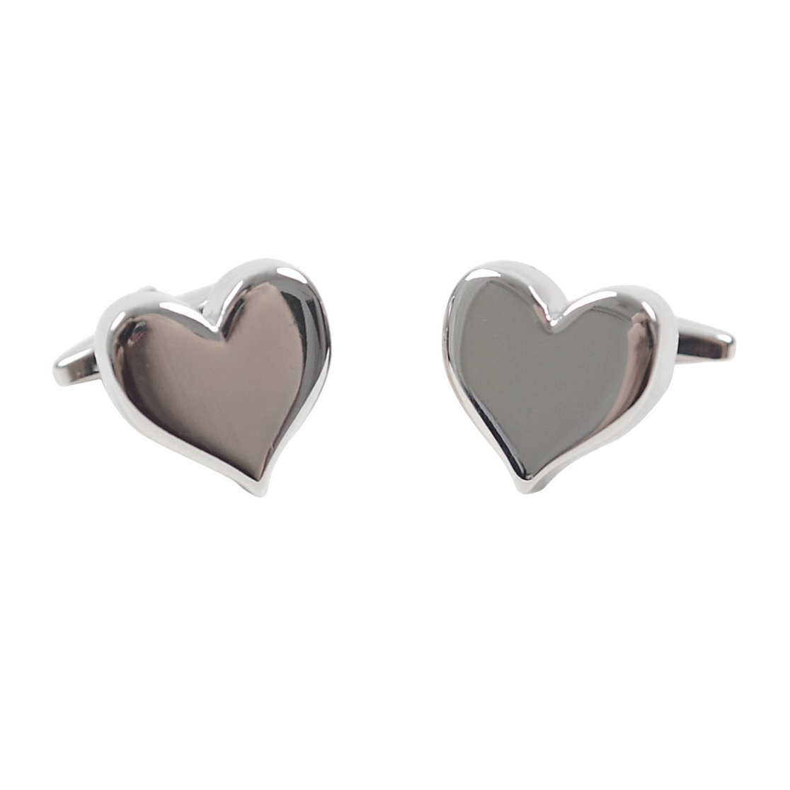 Silver Love Heart Novelty Cufflink - orangeshine.com