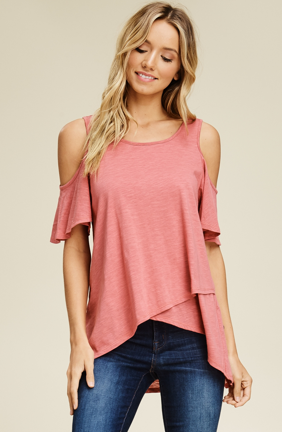 Ruffle Sleeves Cold Shoulder Tops - orangeshine.com