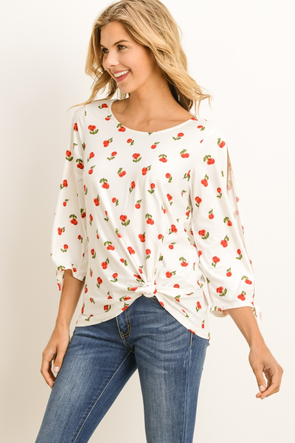 Cherry Print Blouse - orangeshine.com