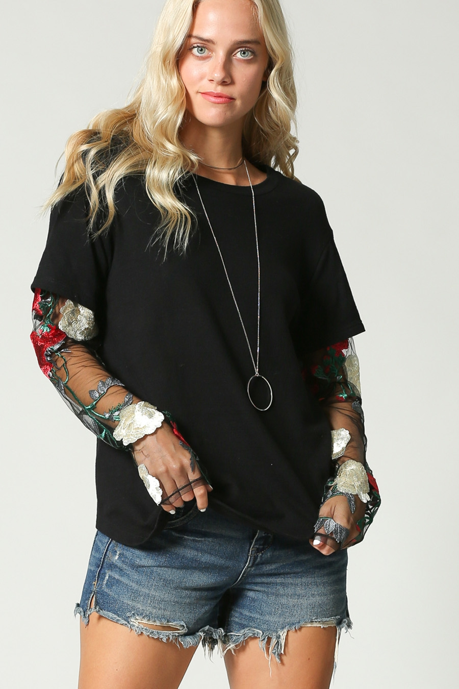 EMBROIDERED FLORAL LACE SLEEVES TOP - orangeshine.com