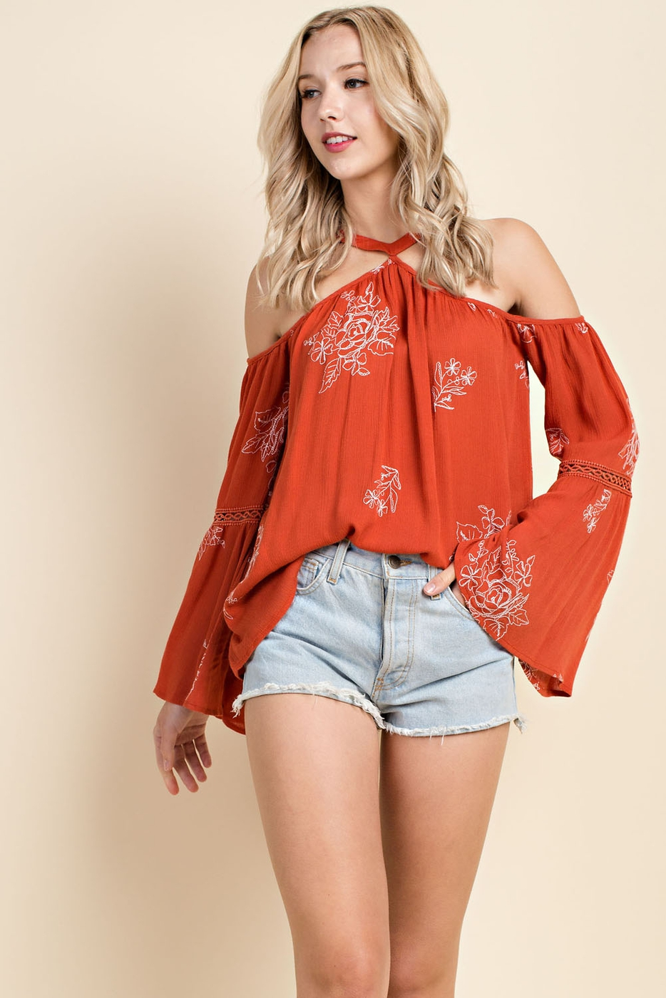 High Neck Embroidered Cold Shoulder  - orangeshine.com