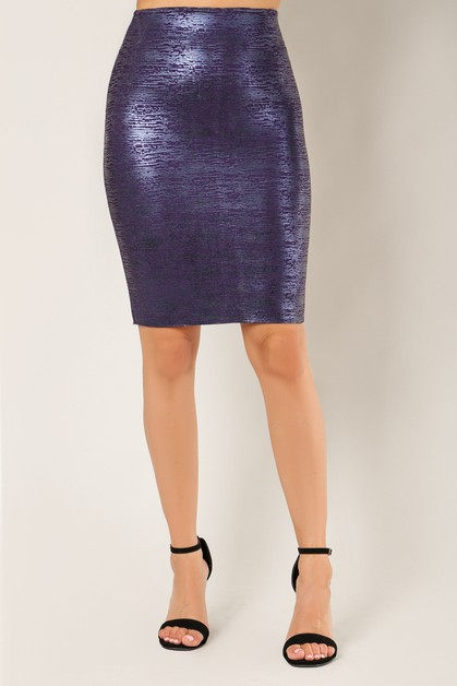 Metallic Colored Pencil Skirt - orangeshine.com