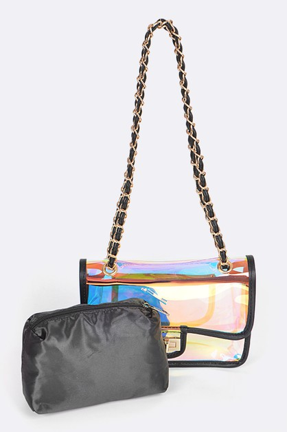 Holographic Vinyl Soft Clutch  - orangeshine.com