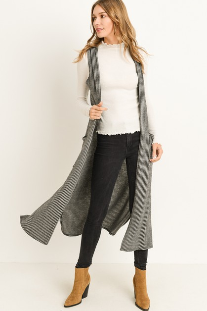Long Stripe Knitted Vest - orangeshine.com