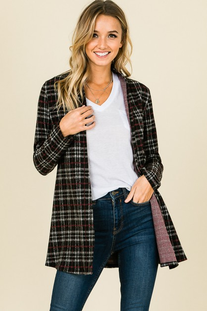PLAID PRINT OPEN CARDIGAN - orangeshine.com