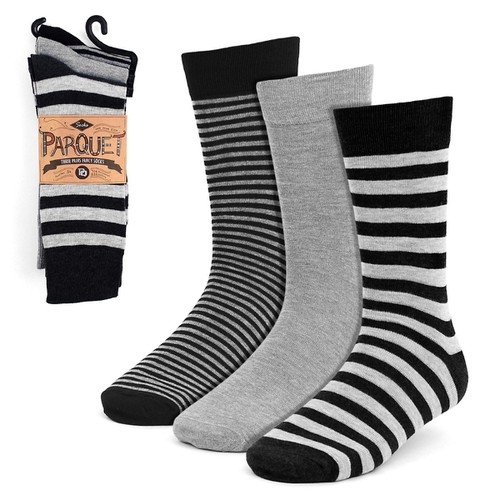 3 Pairs Men Gray Black Striped Socks - orangeshine.com