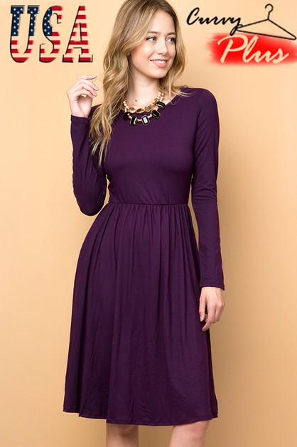 PLUS SIZE SOLID FIT AND FLARE DRESS - orangeshine.com