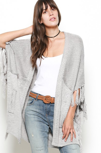 TASSEL SLEEVES POCKET KNIT CARDIGAN - orangeshine.com