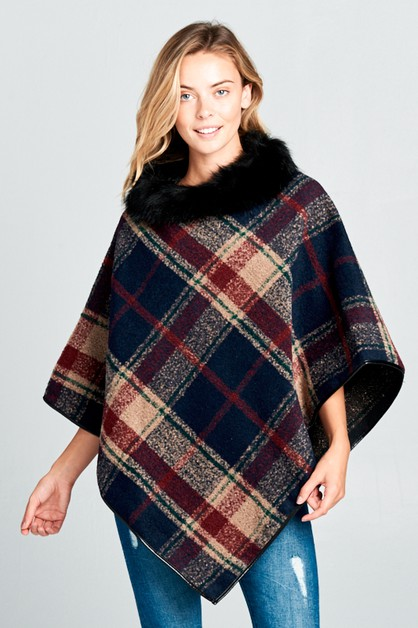CHECKERED OMBRE FUR NECK PONCHO - orangeshine.com