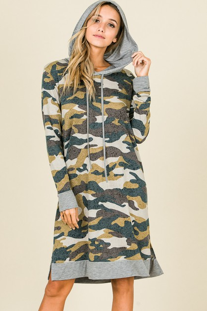 LONG SLEEVE CAMO PRINT HOODED DRESS - orangeshine.com
