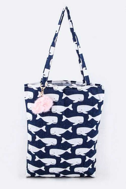 Whale Pattern Fashion Tote - orangeshine.com