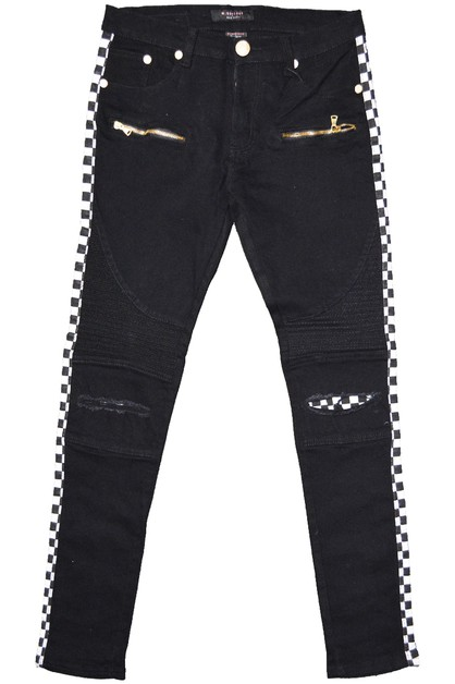 Side Racer Stripe Denim Moto Jeans - orangeshine.com