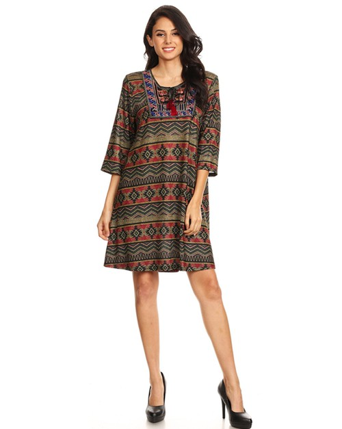 Aztec print dress - orangeshine.com
