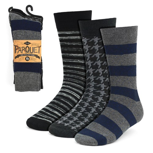 3 Pairs Men Gray Fancy Dress Socks - orangeshine.com